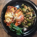 Lasagna special with roasted brussel sprouts.