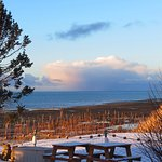 Kachemak Bay sunrise with snow squall off in the southwest. - View from the Kachemak Room