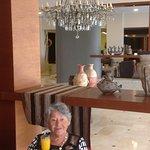 Mum sitting at the bar area, celebrating her 87 birthday,