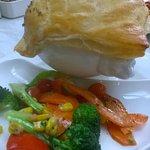 Chicken pot pie and veg