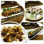 (Clockwise) Ikayaki (grilled squid in a dark sauce), Spicy Salmon Roll, Yokohama Roll, Takoyaki