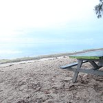 picnic table at beach across from Fruits of Rarotonga, very nice scenery