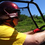 In the drivers seat of the dual ATV