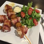 Banners Special - Cod + Wrapped Bacon + Deep Fried Mushroom with lemon and tartar sauce