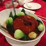 Honey glazed pork butt and Shanghai rice cakes