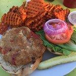 Crab Burger with sweet potato fries