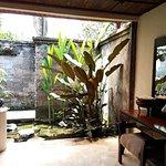 Semi-outdoor bathroom in villa