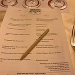 menu and wine list