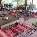 low tables with Thai mattresses