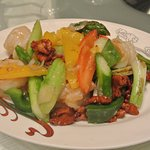 Mixed vegetables with big chunky prawns