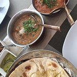 naan with coconut fish and prawn tomato base sauce...delicious