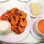 Shrimp meal with carrot soup (IG @rosedeee)