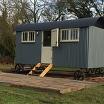 Our lovely new Shepherd's Hut, with wood-burner and fully insulated!
