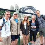 The Welcome Walking Tours' Free Tour of Sydney in front of the Harbour Bridge