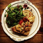 Chilli and garlic infused prawns served on toasted home made bread and salad.   #HardCorePrawn