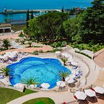 Hotel territory view with heated pool and Black Sea