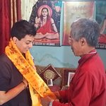 Certificate Ceremony Receiving Khata from Baba (Nanda)