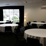The Pentland Room - set up with round tables