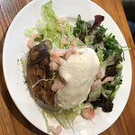 We had these lovely jacket potatoes with fresh salad cottage cheese and doing onion and my frien
