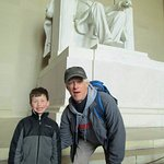Andrew and Tim, our Walk of the Town tour guide, at the Lincoln Monument