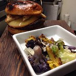 Bone marrow burger, beer battered fish &chips, house made potato skins, all grown up grilled che