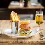 Coworth Park burger, brioche bun, cheddar cheese and dill pickle