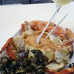 Combinado Marisco - seafood platter with a glass of Alvarinho