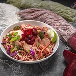 Our Beet & Sour Sauce with Handmade Noodles.