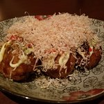 Takoyaki:  octopus, ginger, onion, battered - NOT GLUTEN FREE