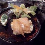fan de légumes et saumon saumé