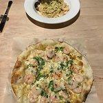 Shrimp Alfredo Pizza and Shrimp Alfredo Pasta