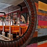 Recycle, reuse...the reclaimed barn wood wall is a focal point at Zanzibar