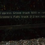 signs from dirt road to Greene's falls