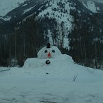 Snowman on the way to Teton Resort