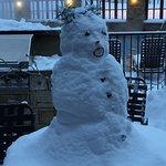 Snowman near the gas grills