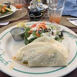 Excellent fish tacos with rum punch