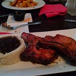 Smoked Pork Chops with white rice and beans