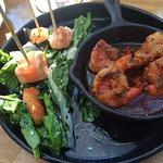 Shrimp Flambé & Salmon Satay