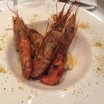 Fantastic place - prawns, passion fruit sorbet, 100 % Monastrell Pasion red wine, pork sirloin,