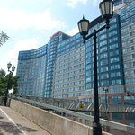 View of Hilton Niagara Falls/Fallsview Hotel from ramp walking down to take incline to Falls.