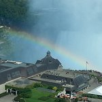 Room 1726 Zoom in view from room. Rainbow over Table Rock with Horseshoe Fall behind.