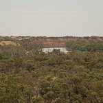 Red cliffs along the banks of the Murray River viewed from the Cafe