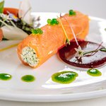 Salmon and crab roulade
