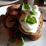 A delicious egg and bacon serving. Fantastic.
