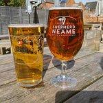 Sunny beer garden beer