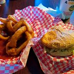 South of the Border burger with Onion Rings