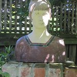 Bust of Katherine Mansfield in the garden