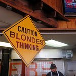 a warning sign in Hooters