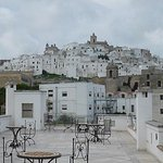 View of Ostuni, Italy, from the terrace of the Relais Sant' Eligio Hotel.
