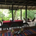 Central Dining area hangout spot - overlooking the Mopan River